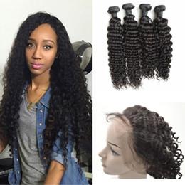 baby hair bundles 2019 - Peruvian Deep Wave 360 Lace Frontal With 4 Bundles 360 Lace Virgin Hair With Baby Hair cheap baby hair bundles
