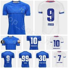 Soccer Football Shorts Man Australia - FC Cruzeiro Jersey 2018 2019 Men Soccer Blue White 9 FRED 10 ARRASCAETA 7 RAFAEL SOBIS 30 THIAGO NEVES Football Shirt Kit Uniform