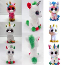 EyEs stuffEd animals online shopping - TY Beanie Boos Plush Doll cm Unicorn Stuffed Animal Soft Big Eyes Kids Toys Christmas Gift Novelty Items OOA5550