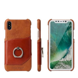 Iphone 6s Genuine Leather NZ - For iphone 6s 7 8 plus X Xs Max XR Cases Luxury Genuine Leather Stand Finger Ring Phone Case Coque For Samsung Galaxy Note 8 9 s8 plus cover