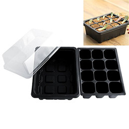 green plastic plant pots UK - Insert Propagation Seeds Grow Box Seedling Starter Trays for Vegetables Fruit Plant 12 Cells Garden Tools High Quality Planters Pot