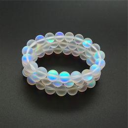 10 мм матовый белый аура кварцевый браслет, драгоценный камень Браслет, голографические круглые бусины, эластичный браслет, удачи браслет