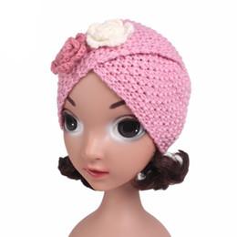 Muslim Child Winter Warm Flower Turban Hat Cross Wool Knitted Cap Beanie  Sleeping Headwear For Child Girl Hair Accessories 8c25dbc332af