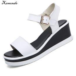 $enCountryForm.capitalKeyWord Australia - Xemonale 2018 Women Sandals White Flat Wedge Sandals Summer Women Platform Sandalias Ladies Thick Heel Sole Gladiator Sandals