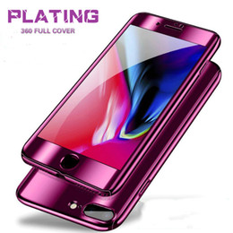 Purple Iphone Screens Australia - Luxury 360 Degree Full Cover Cases For iPhone 8 7 6S 6 plus X Plastic PC Protect phone case with screen protector