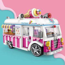 Toys Bricks Australia - wholesale Mini Blocks City Ice Cream Van Truck DIY Educational Kids Gift Brinquedos Building Bricks Christmas Gifts Toys For Girls