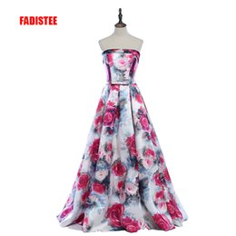 Floor art carpet online shopping - FADISTEE New arrival party satin Printed sexy strapless evening dresses A line prom dress lace up Classic formal gown sleeveless