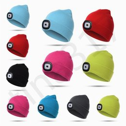 Street Children Cap NZ - Fashion European and American Hot Sales Knitted Children Hat with Lights LED Lamp Hats Luminescent LED Knitted Cap Headlamp Caps T7C068