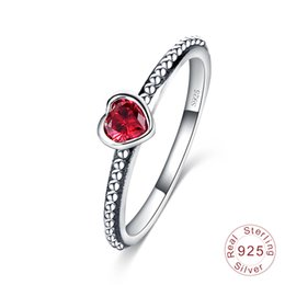 Red diamond jewelRy sets online shopping - Hot Sale Real Sterling Silver Wedding Rings for Women Silver White Red Pink diamond Rings Ladies Engagement Jewelry Gift