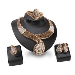 indian bridal jewelry sets wholesale Australia - Luxury Jewelry Set For Women Africa Style Fashion Bridal Rhinestone 18K Gold Plated Water Drop Alloy 4-Piece Set Party Jewelry
