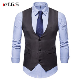 sleeveless jacket man dress 2020 - IEF.G.S Vests Men Slim Fit 2018 Brand Mens Dress Suit Vest Male Waistcoat Gilet Homme Casual Sleeveless Formal Business