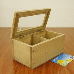 Glasses Boxes NZ - New Vintage Wooden Storage Box Sundries Case with Glass Retro Pen Pencil Case Holder Stationery Desk Organizer Hot Worldwide