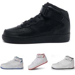 2018 AF1 средний высокий весь черный,Все белые кроссовки мужская женская любитель спорта воздуха конька SneakerTraining обувь