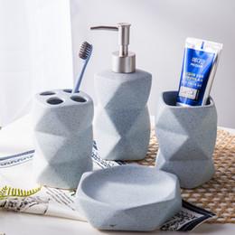 Lotion bottLes shapes online shopping - Ceramic Sandpoint Ceramics Bathroom Supplies Four Set Wash Kit Unusually Shaped Cup Lotion Bottle Brush Holder Soap Dish Pink