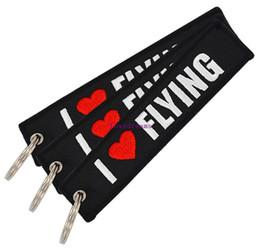 $enCountryForm.capitalKeyWord Canada - 30 pcs lot Car Key Holder OEM Keychain Jewelry Embroidery I LOVE FLYING phone Key Ring Chain for Aviation Gifts Luggage Tags