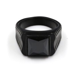 $enCountryForm.capitalKeyWord UK - Steady men Blue Black Color Ring 316L Titanium Stainless Steel Cool Square Black Stone Fashion Rings For Men Jewelry Wholesale