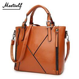 Deep Tote Bag Australia - MEETSELF Brand Bag Luxury Design Women Leather Fashion Stitching Shoulder Bags Large Tote Top-Handle Hot Sell Handbags Splice-K