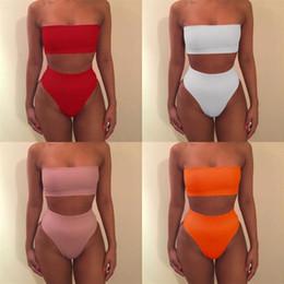 Wholesale red bandage swimsuit for sale – plus size Lady Bikini Bandage Woman Swimsuit Push Up Femme Swimwear Green Orange Red Black Pink Two Piece Suits ys V