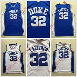 0c43b3e29836 Günstige Herren Duke Blue Devils 32   Christian Laettner College Basketball-Trikots  Blau Weiß Genäht Jersey Stickerei