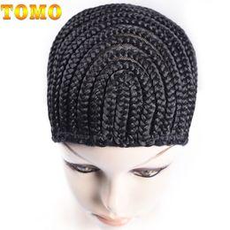 Glueless Wig Braids For Australia - TOMO Braided Wig Caps Crochet Cornrows Cap For Easier Sew In Caps for Making Wig Glueless Hair Net Liner Crochet Wig Caps