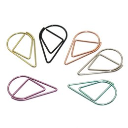 $enCountryForm.capitalKeyWord NZ - 60 Pcs 6 Colors Metal Material Drop Shape Paper Clips Funny Kawaii Bookmark Office Shool Stationery Marking Clips