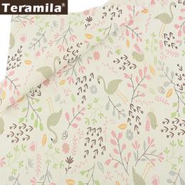 diy fabric animals 2019 - Teramila 100% Cotton Fabric Telas DIY Clothes Twill Material Tecido Pink Theme Cartoon Leaves and Animals Style Scrapboo