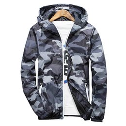 Wholesale windbreakers jackets for sale – winter Autumn Hooded Jacket Men Thin Military Jacket Fluorescent Zipper Features Windbreakers Blue Jacket Plus Size xl xl