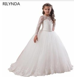 12c6250b174f Cheap White Flower Girls Dresses For Wedding Gowns Cap Sleeve Lace Sash Bow  Girl Birthday Party Dress Zipper Tulle Pageant Dress