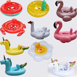 $enCountryForm.capitalKeyWord NZ - Hot sale Cartoon fashion Flamingo Unicorn watermelon shape Swimming ring Swimming Pool inflatable toy aquatic floating row T3I0346