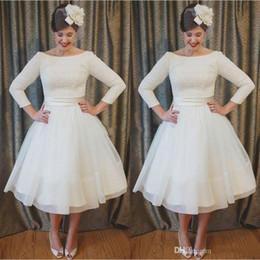 06b6131921b 2018 New Plus Size Short Bateau Wedding Dresses Long Sleeves Tulle Ball Gowns  Lace Appliques Tea-Length 1950 Style Wedding Bridal Dress