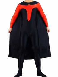 spandex robin costume UK - Unisex Black and Red Robin Lycra Spandex Superhero Costume Skin-tight Catsuit With Cape For Halloween Party