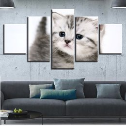 Art Canvas Prints Australia - Wall Art Pictures Home Decor Poster Canvas HD Prints 5 Pieces Lovely Cat Animal Paintings For Living Room Modular Kitten Posters