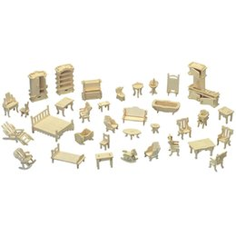 Dollhouse kits online shopping - Mini Doll House DIY Furniture Models Jigsaw Puzzle Dollhouse Woodcraft Construction Kit Toy Children Gifts ap C