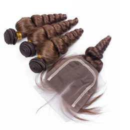 Discount 16 chocolate hair - Chocolate Brown #4 Loose Wave Hair Bundles With Lace Closure 4x4 Loose Curly Hair Weft Extensions With Top Closure Free