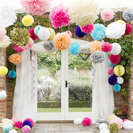 Tissue balls for parTy online shopping - Tissue Paper Flower Ball Colorful Hand Made Pom Poms Balls For Wedding Party Home Decorations Supplies Factory Direct hz9 XB
