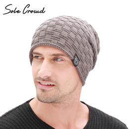 5bf76de1090 Sole Crowd Fashion Cloth Label Skullies Beanies Men Winter Plus Velvet  Thick Hats Warm Knitted Caps For Men Bonnet High Quality