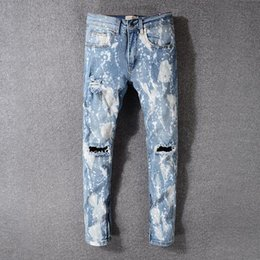 Male green jeans online shopping - KANYE Justin Bieber Men Jeans Ripped Jeans Fashion Designer Blue Rock Star Mens Jumpsuit Designer Denim Male Pants