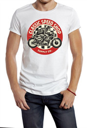 aa85f299 BIKER CAMISETA CLASSIC SPEED SHOP LOGO CAFE RACER FAST MOTOR HOT ROD BLANCO