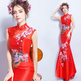 3690f5275 cheongsam dress lace red blue white qipao long dragon and phoenix chinese  style wedding traditional elegant long mermaid