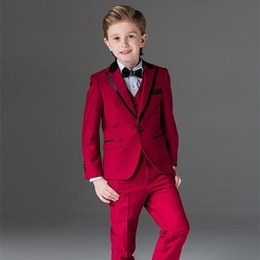ivory tuxedo kids NZ - Newest One Button Red Boy Tuxedos Peak Lapel Children Suit Custom Made Kid Wedding Prom Suits (Jacket+Vest+Pants+Bow Tie)