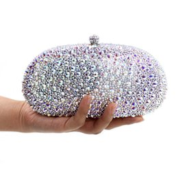 bridal clutches UK - silver full diamond clutch evening bags fashion women crystal prom clutch purse wallets wedding bridal sac pochette Purse