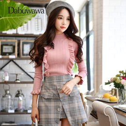 sweater colors turtleneck 2019 - Dabuwawa Two Colors Autumn Winter Turtleneck Ruffle Women Sweaters And Pullovers Knitted Christmas Sweater cheap sweater