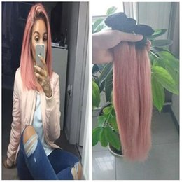 $enCountryForm.capitalKeyWord Australia - Dark Root Ombre Pink Hair Brazilian Straight Human Hair Weave Bundles 1B Pink Two Tone Colored Ombre Virgin Human Hair 3 Bundles