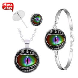 Bangle Silver Dragon Australia - 4pcs Dragon Eye Glass Cabochon Necklace & Earrings & Bangle Jewelry Set