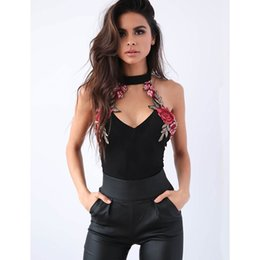 women party clothing 2018 - Sexy Women V-Neck Bodycon Bandage Sleeveless Sleeveless Floral PU Pants Jumpsuit Evening Party Clothes Women's Jump