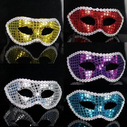 half face gold party masks NZ - Men Women Fashion Sequins Cover Party Masquerade Masks Halloween Party Half Face PVC Carnival Masks Festival Party Performance Show Masks