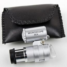 Microscopio 45X Joyero Lupa Lupas Lupas Mini Lupas Microscopios de bolsillo con luz LED + Bolsa de cuero Lupa MG10081 en venta