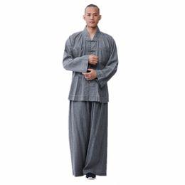 Meditation set online shopping - ZanYing Buddhist Meditation Zen Clothing Sets Loose Cotton Linen Men Sets Dark Grey ZYS270