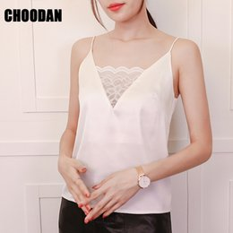 1c459b0e779 Top Women Satin Camis V Neck Camisole Tank Summer 2018 New Korean Lace  Patchwork Sleeveless Shirt White Black Women Chic Top