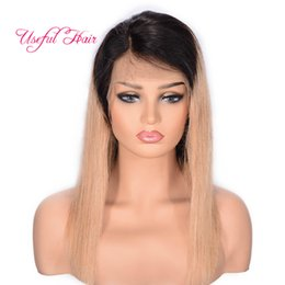 short brazilian hair styles UK - Brazilian hair Lace Frontal Wig #1B 27 Straight Ombre Brown Lace Frontal Wig Short Long rehanna hair style
